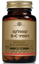 קומפלקס ויטמיני B+C סולגאר 30 טבליות Complex with Vitamin B+C Solgar כליל הטבע