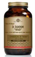 "אומגה 3 סולגאר 100 כמוסות 950 מ""ג Solgar Triple Strength Omega-3 950 mg כליל הטבע"